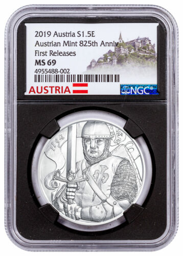 2019 Austria Silver Leopold Coin NGC MS69 FR Black Core Austria Label SKU57611