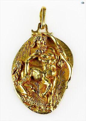 Adorable Antique 18K Yellow Gold Zodiac Sagittarius Heavy Signed Pendant