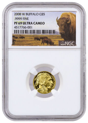 2008-W $5 1/10 Oz American Gold Buffalo NGC PF69 UC (Buffalo Label) SKU39134