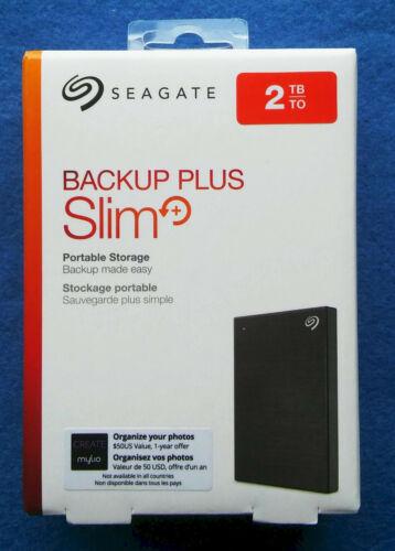 Seagate Backup Plus Slim 2TB USB External Hard Drive BLACK STHN2000400 NEW