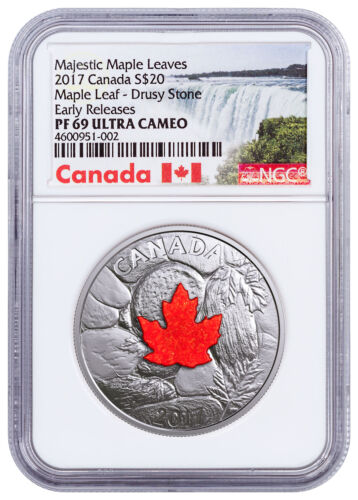 2017 Canada Majestic Maple Leaves Drusy Stone 1oz Silver NGC PF69 UC ER SKU49964