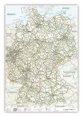 LYSCO® Deutschlandkarte DIN A1 Format gefaltet auf DIN A4 Landkarte Deutschland