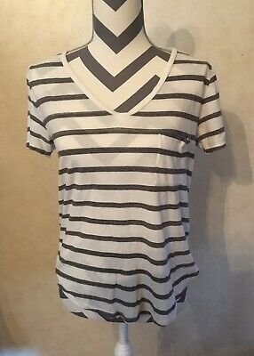 Small Abercrombie & Fitch Gray White Striped Women's V Neck T Shirt Top