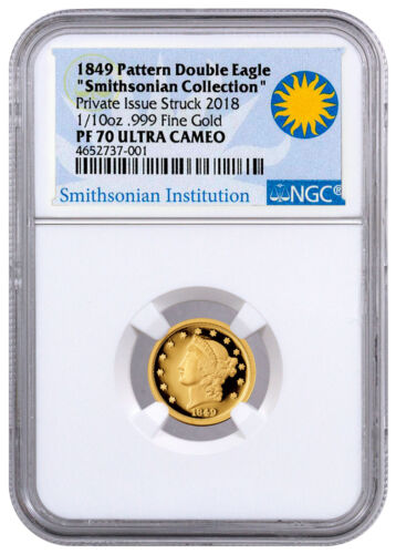 (2018) 1849 Pattern Double Eagle Smithsonian 1/10 oz Gold NGC PF70 UC SKU51922