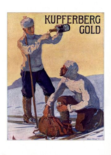Champagne Kupferberg Gold XL 1909 ad by Georg Hanel skiing wintertime snow ice