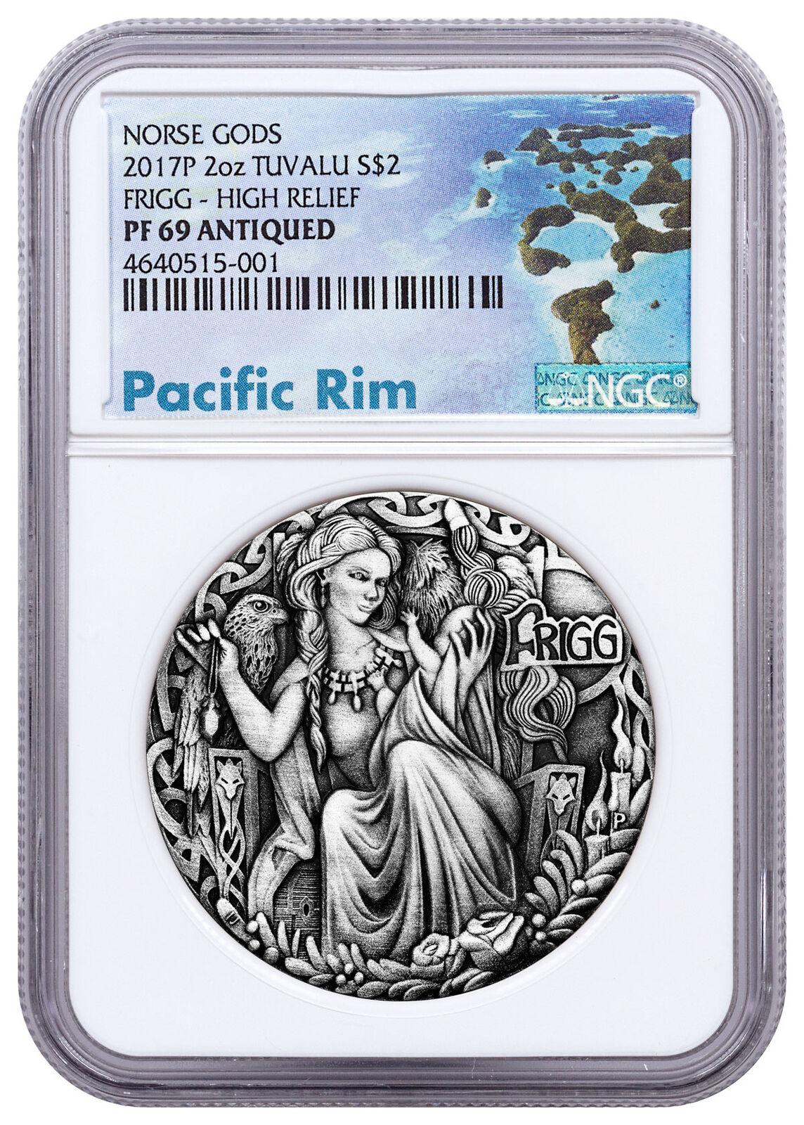 2017-p tuvalu norse goddesses frigg hr 2 oz silver antiqued $2 ngc pf69 sku51538