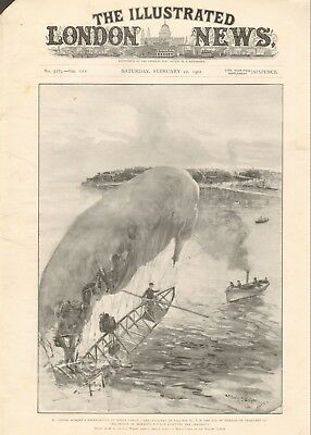 - 1902 ANTIQUE PRINT- M DUMONT'S EXPERIMENTS AT MONTE CARLO, ACCIDENT BALLOON No 6