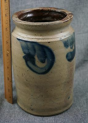 "Blue Decorated STONEWARE CROCK / PRESERVE JAR - Pennsylvania 7"" SMALL"