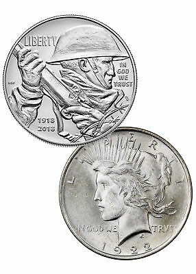 2-Coin Set - 2018-P WWI Centennial Commem Silver Dollar + 1922 Peace BU SKU52074