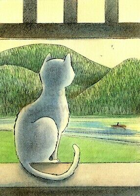ACEO PRINT - WINDOW VIEW - cat pets animals landscape mountain boat art artprint - Animal Print Paper