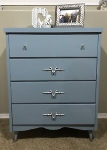 Beautiful Refinished dresser with silver pulls