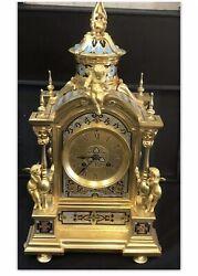 Antique 19thC French Bronze Ormolu Mixe Colours Enamel Mantle Clock With Cherubs