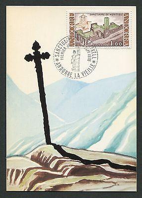 ANDORRA MK 1976 KIRCHE MERITXELL CHURCH MAXIMUMKARTE MAXIMUM CARD MC CM d336