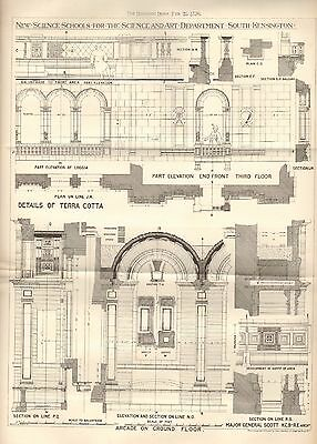 1876 LARGE ANTIQUE ARCHITECTURAL PRINT- NEW SCIENCE SCHOOLS SOUTH KEN,LONDON