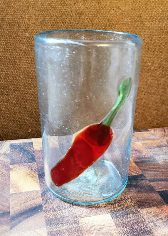 Mexican Hand Blown Tumbler Bubble Glass with Hot Pepper  5 x 3 signed bgjines