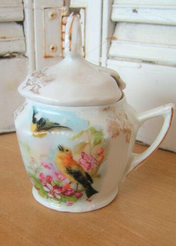 Antique Transferware Birds & Flowers German Lidded Porcelain Mustard Pot