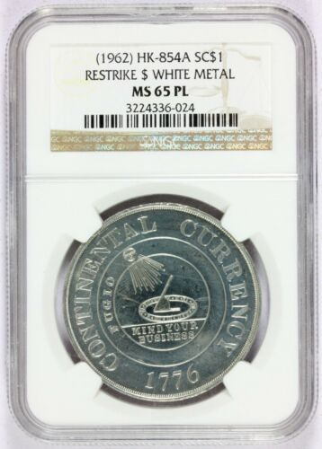 1962 Continental Bowers Restrike WM So-Called Dollar HK-854a - NGC MS 65 PL