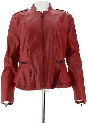 GILI Faux Leather Double Peplum Jacket Red Dahlia 6 NEW A310074