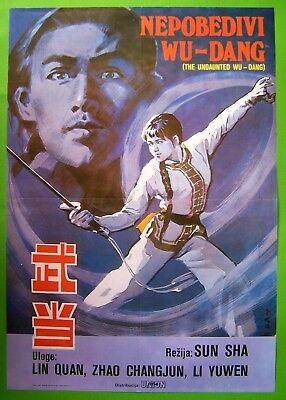WUDANG-LIN QUAN/ZHAO CHANGYUN/LI YUWEN-RARE ORIGINAL YUGOSLAV MOVIE POSTER 1983