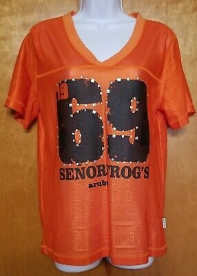 Senior Frogs Orange Mesh Football Jersey ~ 1969 ~ Aruba ~ Women's Size L/XL image