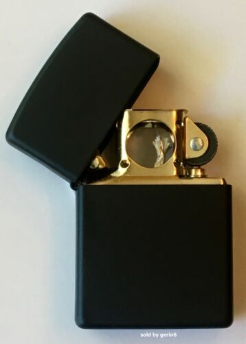Zippo Windproof Black Matte Lighter With GOLD Pipe Insert, 218GPI, New In Box
