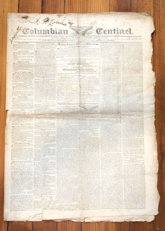 1820 newspaper  w FRONT PAGE US CENSUS Including SLAVES & FREE COLORED BLACKS