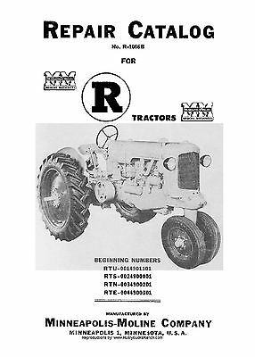 Minneapolis Moline Model R Tractors Parts Manual Rte-rtn-rts-rtu R-1086b