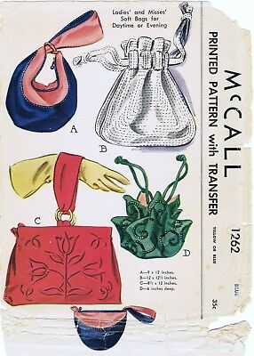 McCall Pattern # 1262 Handbags Purse Bags Fabric Sewing Vintage 1940