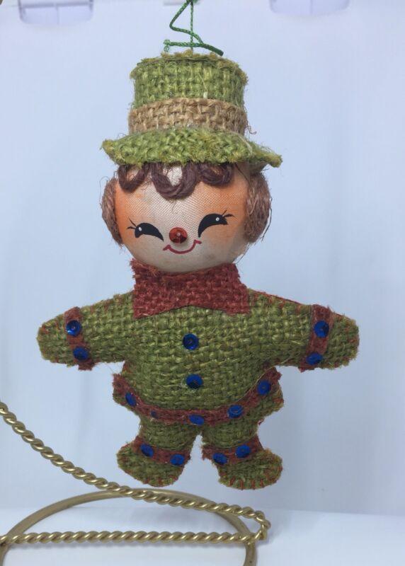 Snowman Scarecrow Burlap Christmas Ornament Vintage 1970