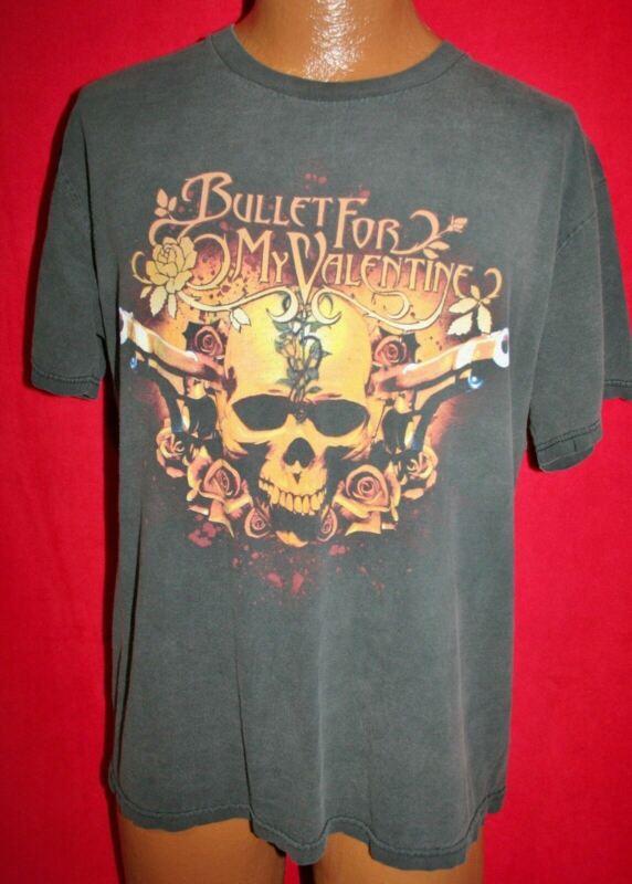 BULLET FOR MY VALENTINE Guns & Skull T-SHIRT L Heavy Metal Rock