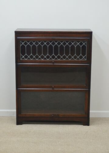 Antique Lundstrom Mahogany 3 Stack Sectional Barrister Bookcase