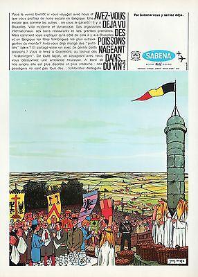 PUBLICITE  SABENA GRAMMONT KRAKELINGEN AVIATION Cie AERIENNE AIRLINES AD 1968