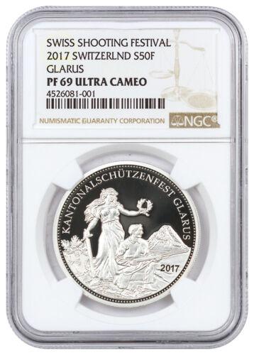 2017 Switzerland Shooting Festival Thaler - Glarus Silver NGC PF69 UC SKU45698