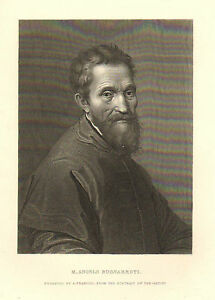 Artist Michelangelo, Self Portrait, Vintage, 1876 Original ...