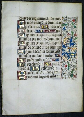 Illuminated medieval BoH lf.15 gold heightened initials & floral borders,c.1475