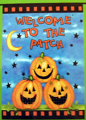 """Halloween """"Welcome to the Patch"""" Pumpkins Garden Flag (12.5"""" x 18"""") 2 sided"""