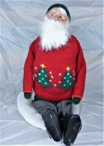 1993 Byers Choice Carolers Sitting Santa w/ Ice Skates, Red Sweater, Green Hat