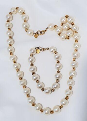 Vintage Anne Klein Faux Pearl necklace bracelet set Gold tone
