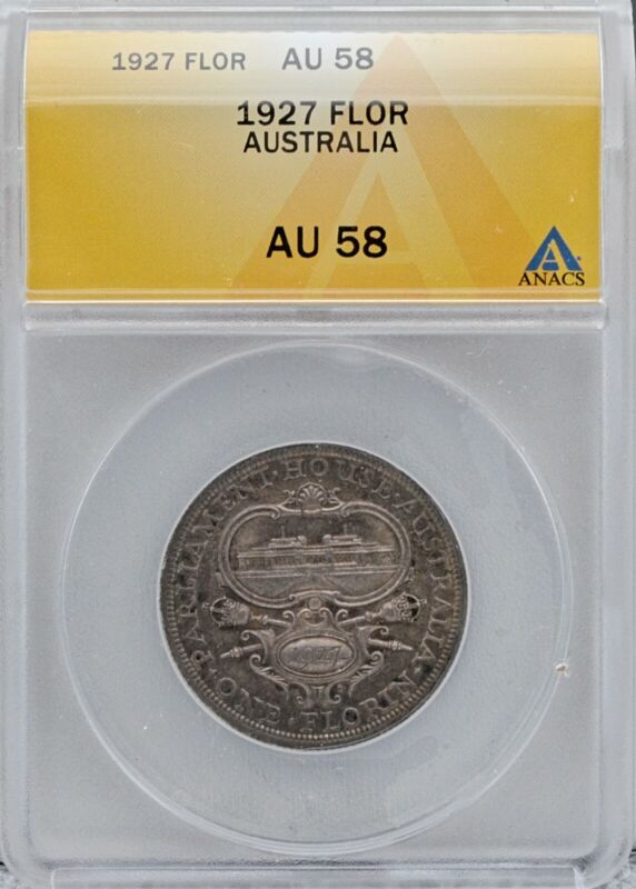 1927 Australia Silver Florin Coin Certified ANACS AU58 Parliament House Opening