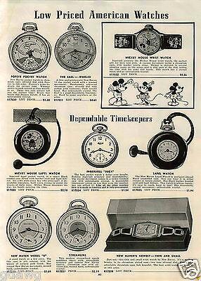 1939 PAPER AD Popeye Pocket Watch Mickey Mouse Wrist Ingersoll Lapel Walt Disney