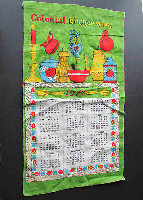 "1977 Linen Calendar COLONIAL KITCHENWARE Hanger Dish cloth16x27"" FREE SH"