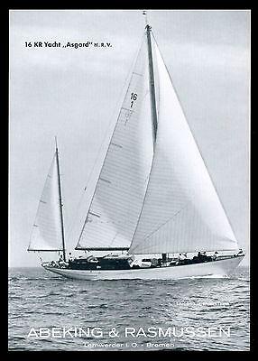 Grosse Werbung 1961 16 KR Yacht ASGARD N. R. V. Werft Abeking & Rasmussen Bremen