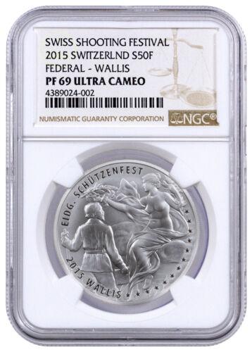 2015 Switzerland Silver 50F Shooting Thaler Festival Wallis NGC PF69 UC SKU34758