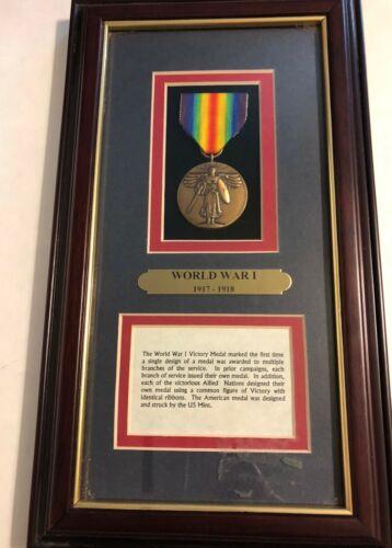 FRAMED WORLD WAR I VICTORY MEDAL - NEW
