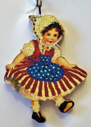 GIRL in RED, WHITE & BLUE FLAG DRESS JULY 4th * Glitter PATRIOTIC ORNAMENT * Vtg