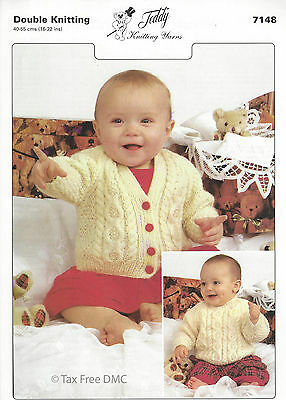 VAT Free Hand Knitting PATTERN Teddy Baby Cardigan Jumper Sweater New 7148 - Free Knit Baby Sweater Pattern
