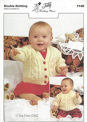 VAT Free Hand Knitting PATTERN Teddy Baby Cardigan Jumper Sweater New 7148