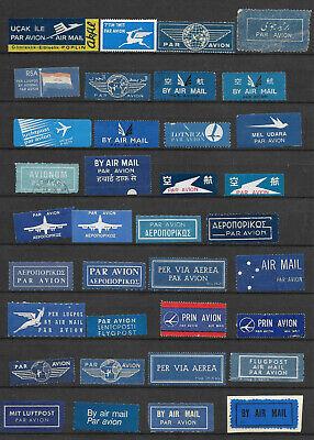 Air mail Par Avion  labels  & cut offs  3 scans all different
