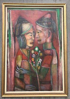 Peter Zvi Malkin Israeli secret agent and artist original otl painting on canvas