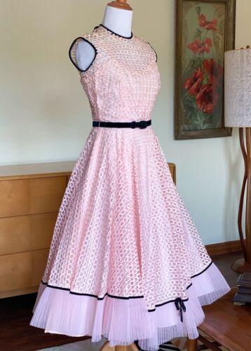 50s Dress Pink Woven Ribbon Black Velvet Trim Vintage Cocktail Circle Skirt Gown